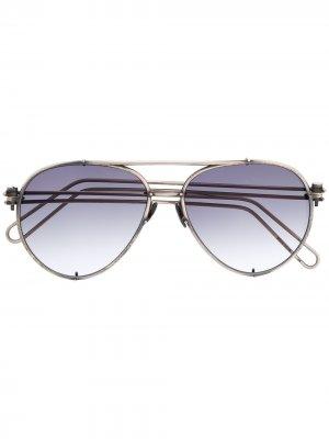 Солнцезащитные очки-авиаторы Werkstatt:München. Цвет: серебристый