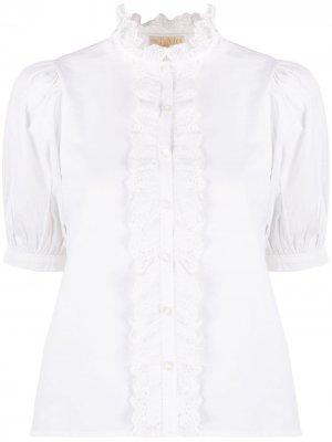 Поплиновая блузка с оборками на воротнике byTiMo. Цвет: белый