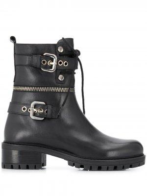 Ботинки с пряжками Albano. Цвет: черный