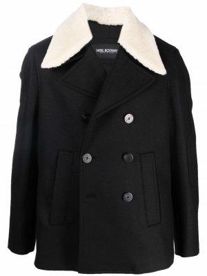 Двубортная куртка с воротником из овчины Neil Barrett. Цвет: черный