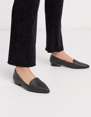 Черные туфли на плоской подошве с острым носом -Черный цвет Dune