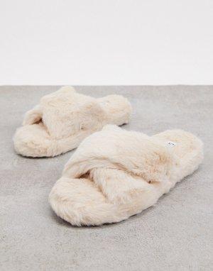Кремовые пушистые тапочки Simmi London-Кремовый Shoes