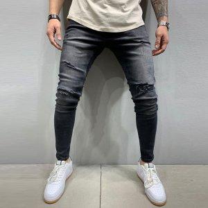 Мужской Рваные джинсы с карманом SHEIN. Цвет: чёрный
