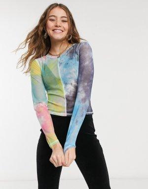 Лонгслив из сетчатой ткани с комбинированным принтом и оверлочной строчкой -Многоцветный Glamorous