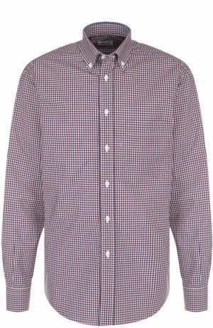 Хлопковая рубашка в клетку с воротником button-down Brioni. Цвет: бордовый