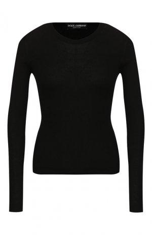 Пуловер из смеси кашемира и шелка Dolce & Gabbana. Цвет: черный