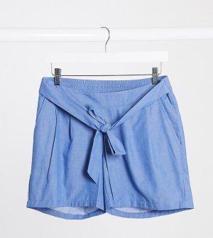 Синие шорты из шамбре Mamalicious Maternity-Синий Mama.licious
