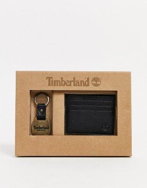 Подарочный набор из кошелька для карт и брелока ключей черного цвета -Черный Timberland
