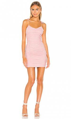 Мини платье с рюшами fawn superdown. Цвет: розовый
