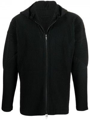 Плиссированная куртка с капюшоном Homme Plissé Issey Miyake. Цвет: черный