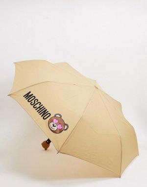 Темно-бежевый зонт Moschino