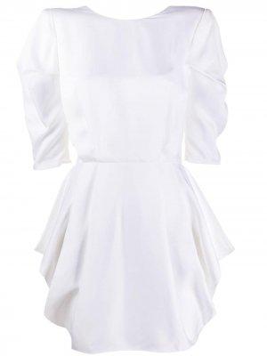 Платье с короткими рукавами и сборками на талии Alexandre Vauthier. Цвет: белый