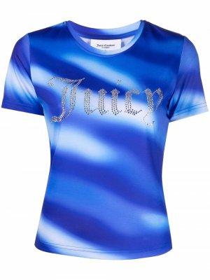 Декорированная футболка с логотипом Juicy Couture. Цвет: синий