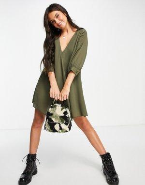 Платье мини цвета хаки А-силуэта с V-образным вырезом и рукавами три четверти -Зеленый цвет ASOS DESIGN