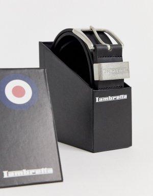 Черный кожаный ремень в коробке Lambretta