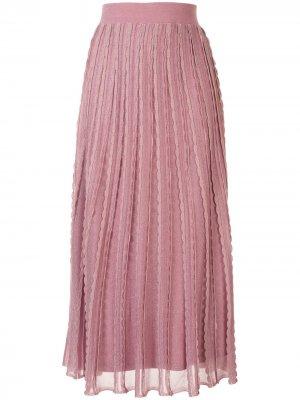 Трикотажная юбка Zea с фестонами Alexis. Цвет: розовый