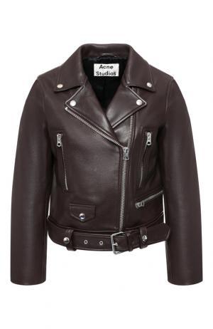 Однотонная кожаная куртка с косой молнией Acne Studios. Цвет: коричневый