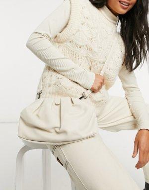 Светлый клатч-подушка с ремешком через плечо -Белый Claudia Canova
