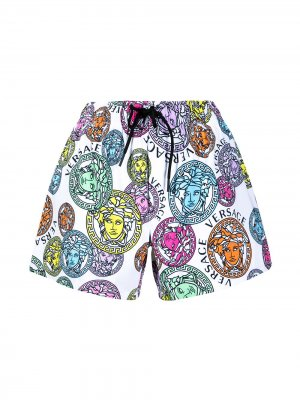 Пляжные шорты с декором Medusa Versace. Цвет: белый