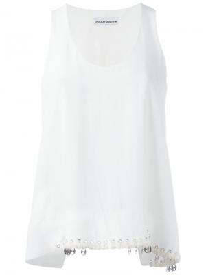 Майка с декоративными люверсами Paco Rabanne. Цвет: белый