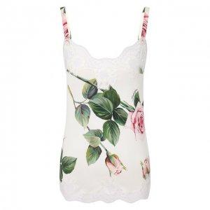 Шелковая майка Dolce & Gabbana. Цвет: белый