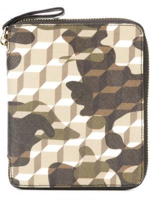 Бумажник с камуфляжным принтом Pierre Hardy. Цвет: зелёный