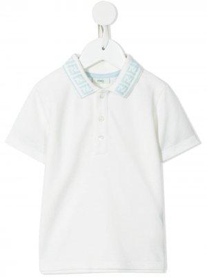 Logo embroidered polo shirt Fendi Kids. Цвет: белый