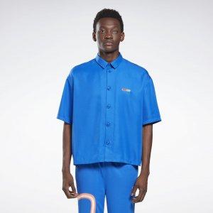 Рубашка с коротким рукавом by Pyer Moss Reebok. Цвет: vital blue