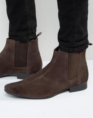 Ботинки челси из коричневой замши Frank Wright