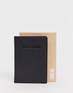 Черная кожаная обложка для паспорта с тиснением в подарочной упаковке -Черный ASOS DESIGN