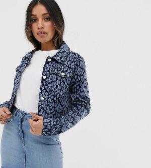 Джинсовая куртка с цветочным принтом -Синий Brave Soul Petite