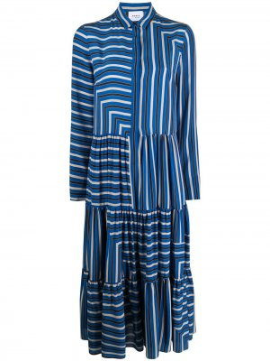 Платье-рубашка со сборками Akris Punto. Цвет: синий