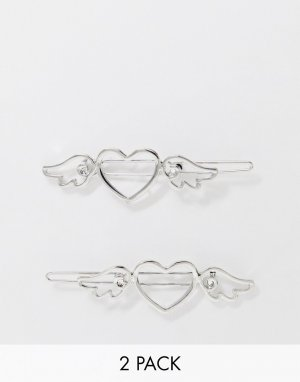 Набор из 2 серебристых заколок -Серебряный ASOS DESIGN