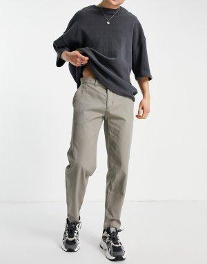 Светло-бежевые брюки-чиносы классического кроя -Нейтральный New Look