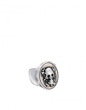 Овальное кольцо с черепом Wear Boom Bap. Цвет: серебряный