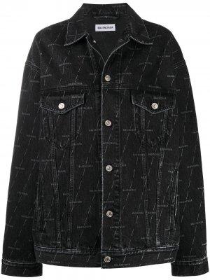 Джинсовая куртка с логотипом BALENCIAGA. Цвет: черный