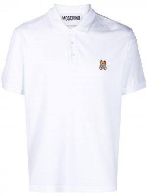 Рубашка поло с вышивкой Teddy Bear Moschino. Цвет: белый
