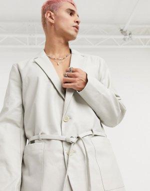 Кремовый приталенный блейзер из искусственной кожи с завязкой -Белый ASOS DESIGN