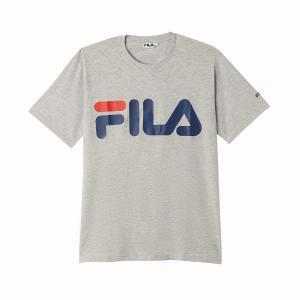 Футболка с круглым вырезом и короткими рукавами FILA. Цвет: белый,серый меланж