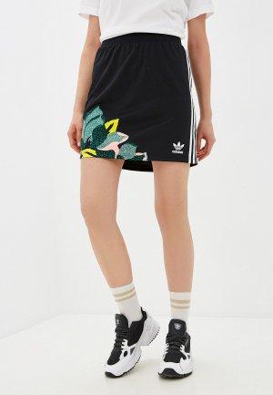 Юбка adidas Originals SKIRT. Цвет: черный
