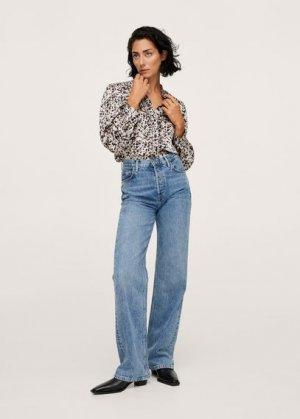 Блузка с принтом и воланами - Pixie Mango. Цвет: экрю