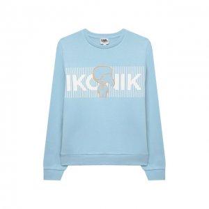 Хлопковый свитшот Karl Lagerfeld Kids. Цвет: синий