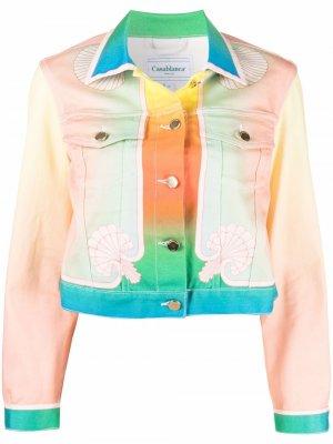 Джинсовая куртка в стиле колор-блок Casablanca. Цвет: розовый