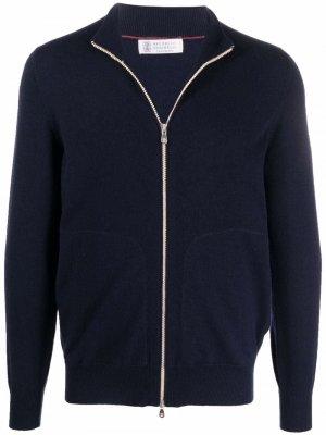 Zip front cardigan Brunello Cucinelli. Цвет: синий