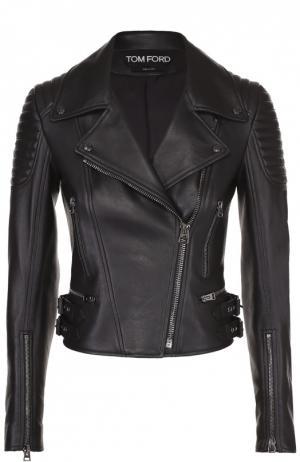 Приталенная кожаная куртка с косой молнией Tom Ford. Цвет: черный