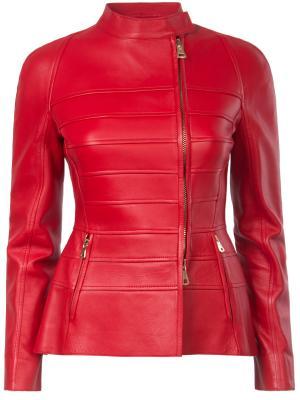 Кожаная куртка VALENTINO. Цвет: красный
