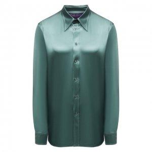 Шелковая рубашка Ralph Lauren. Цвет: зелёный