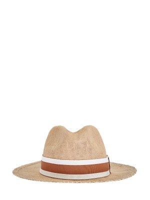 Шляпа-трилби из дышащего плетеного материала ELEVENTY. Цвет: коричневый