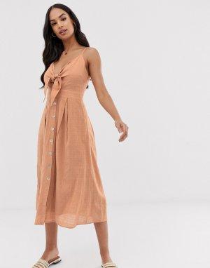 Фактурное летнее платье с узлом -Мульти Y.A.S