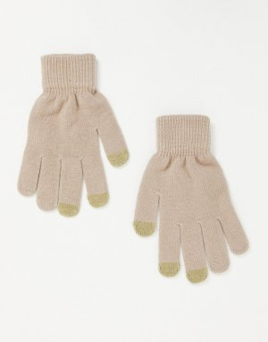 Бежевые перчатки с отделкой для сенсорных устройств SVNX-Бежевый 7X
